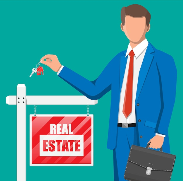 Businessman or realtor holding key. wooden placard with real estate sign. mortgage, property and investment. buy sell or rent realty. flat vector illustration