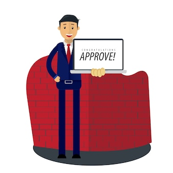 Businessman receive approval letter document