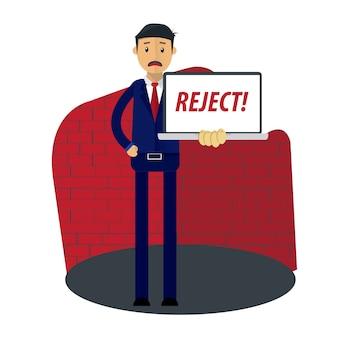 Businessman receive reject letter document