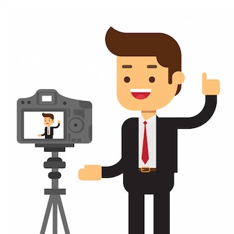 Businessman recording himself