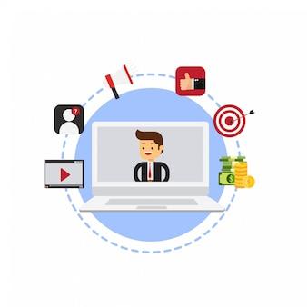 Businessman recording video marketing