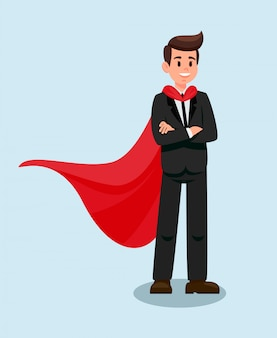 Businessman in red cape flat vector illustration