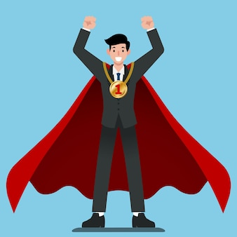Businessman in red cape get number one gold medal