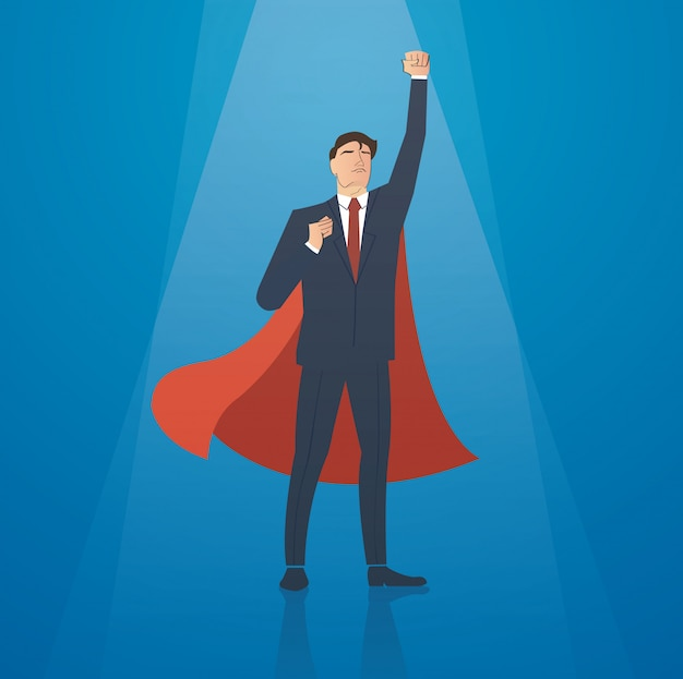Businessman and red cape successful vector