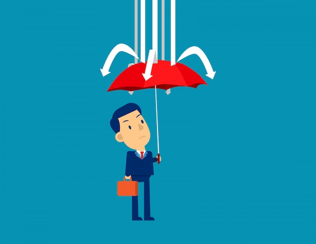 Businessman and red umbrella protection