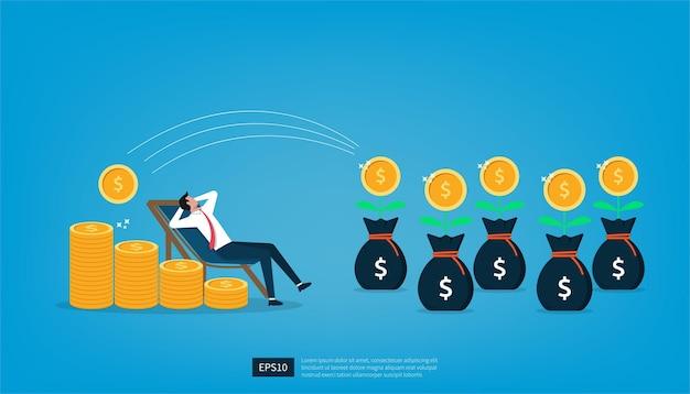 Бизнесмен расслабляется, ожидая, пока деньги войдут в его долларовые монеты. пассивный доход и зарплата концепции векторные иллюстрации