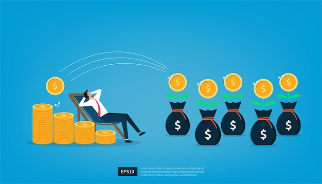Businessman relaxes waiting for the money to enter his dollar coins. passive income and salary concept vector illustration