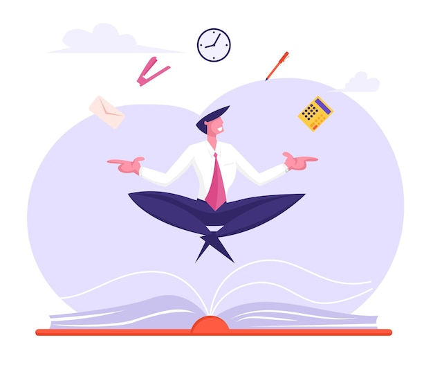 事務用品と蓮華座でリラックスして瞑想するビジネスマン