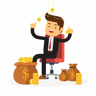 Businessman relaxing on chair in background money