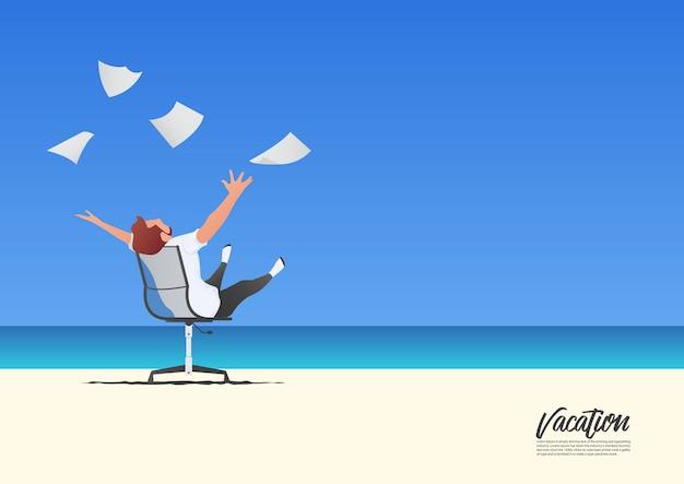 ビジネスマンが彼の夏休みにホワイトペーパーを投げるとリラックス。自由とワークライフバランスのコンセプト。青いグラデーションの空。