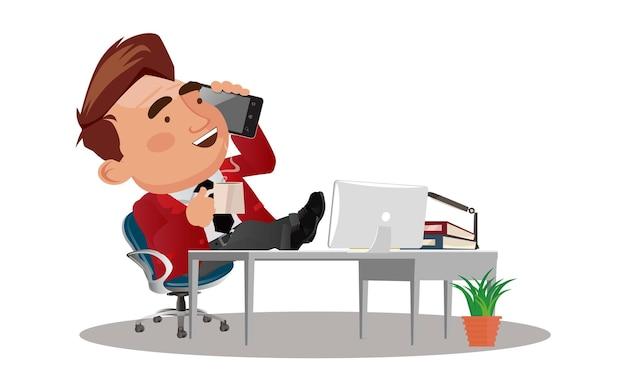 Бизнесмен, отдыхая в кресле с поднятыми ногами
