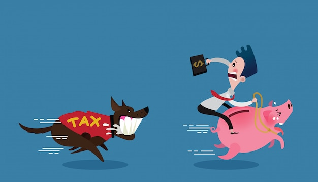 Businessman ride on pig run away the dog