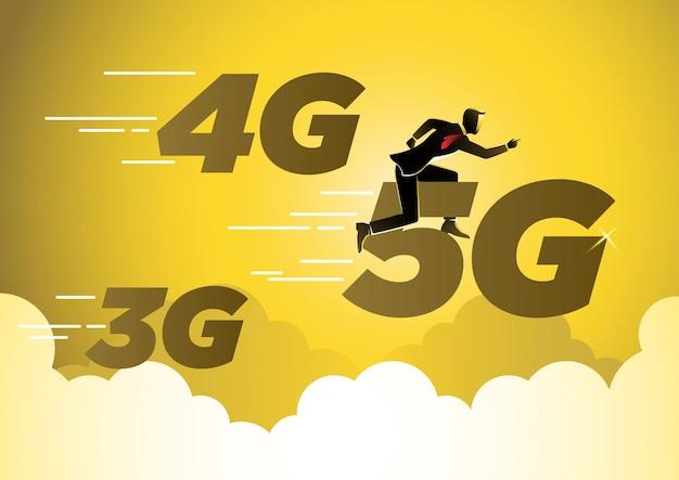 A businessman riding 5g symbol network wireless technology vector concept