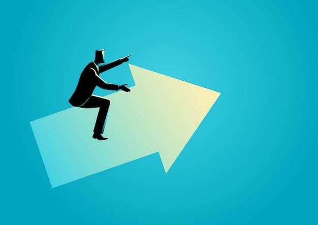 Businessman riding an arrow graph