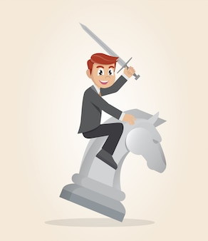 Businessman riding chess horse with a sword.