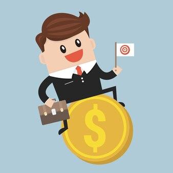 Businessman riding flying money
