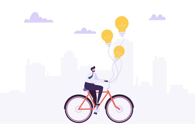 Бизнесмен, едущий на велосипеде на работу. офисный работник персонаж на велосипеде с лампочкой. концепция транспорта экологии.