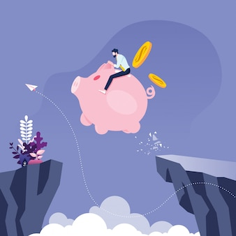 Businessman riding piggy bank across the cliff, business concept vector