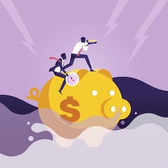 海でお金を節約するために貯金箱に乗るビジネスマン危機を突破する