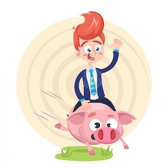 Businessman riding a piggybank