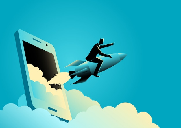Businessman riding a rocket comes out from smartphone