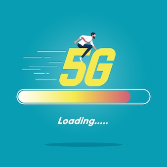 Businessman riding word 5g on loading status concept