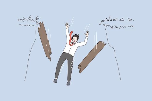 Businessman risk at work fall into precipice