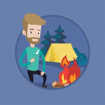 Businessman roasting marshmallow over campfire.