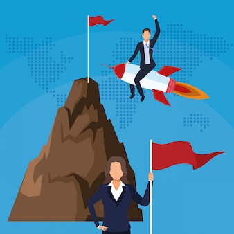 Businessman in rocket businesswoman with mountain flag