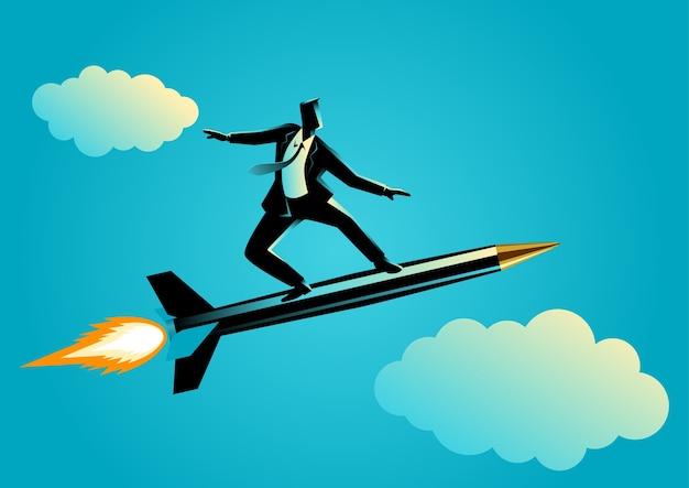 Businessman on a rocket pen