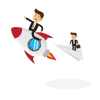 Businessman on a rocket racing