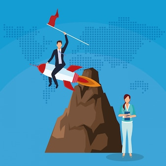 Businessman in rocket with flag businesswoman mountain success start up business