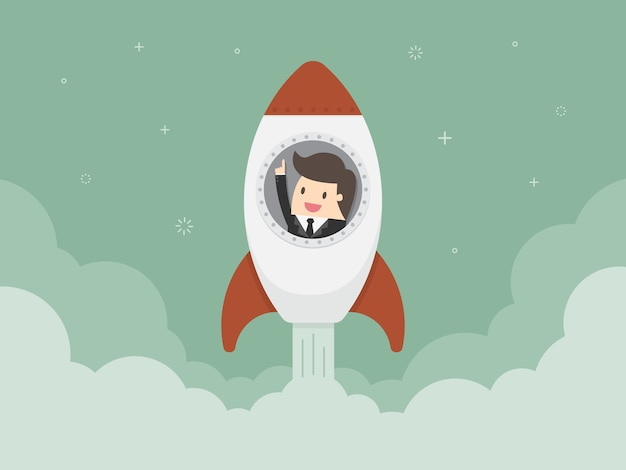 Businessman in a rocket