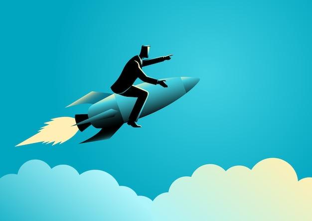 Businessman on a rocket