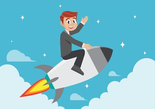 Businessman on a rocket.