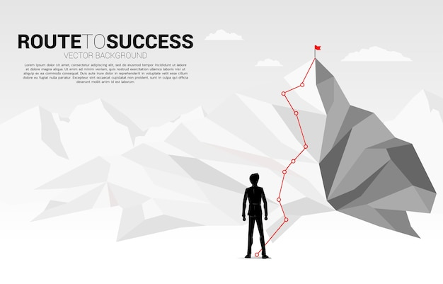 Businessman and route to the top of mountain: concept of goal, mission, vision, career path