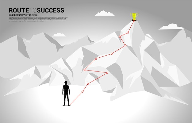 Businessman and route to the top of mountain.