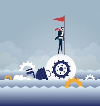Businessman rowing idea light bulb boat sailing on the ocean - business concept
