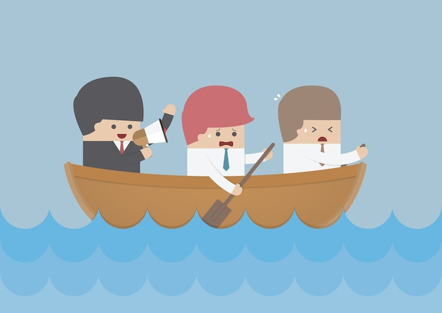 Businessman rowing team, teamwork and leadership concept
