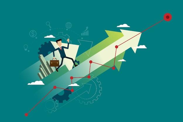 Businessman run on arrow go path to goal