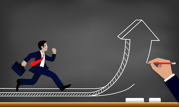Businessman run on arrow that change direction to goal