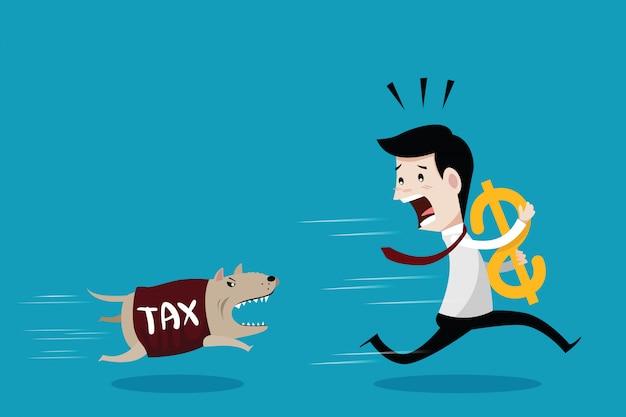 Businessman run away the dog in shirt tax