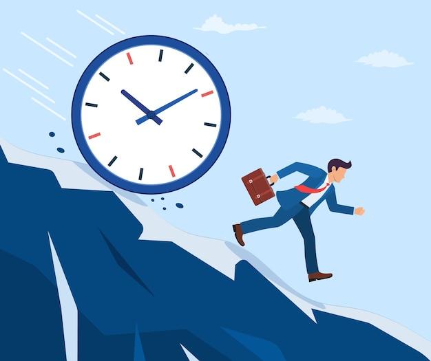 ビジネスマンは大時計から逃げます。