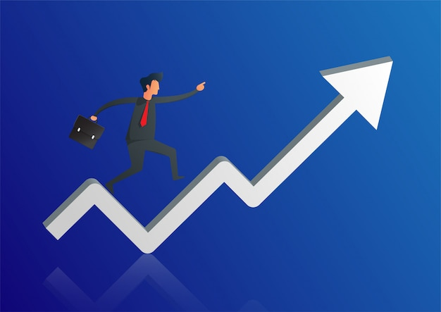 Businessman run on chart graph line to goal to achieve success.