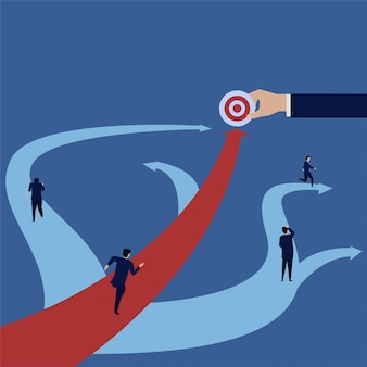 Businessman run forward straight to target when others turns around.