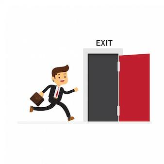 Businessman run to open exit door