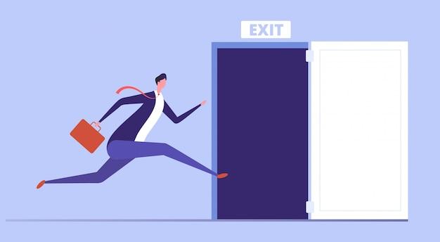 ビジネスマンは出口のドアを開くために実行されます。緊急脱出とオフィスビジネスコンセプトからの避難