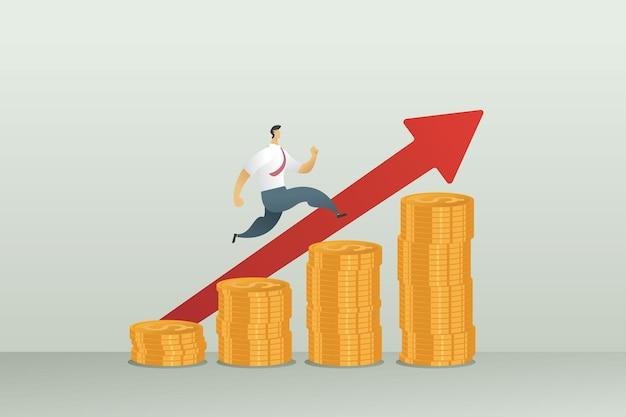 사업가는 차트를 실행하여 돈을 벌었습니다. 금화와 화살촉 성공적인 비즈니스 및 성취