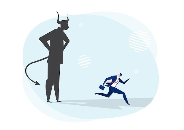 悪魔、お化けの影を脅かす概念から逃げる実業家