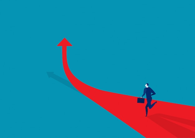 Businessman runing on the arrow red illustration